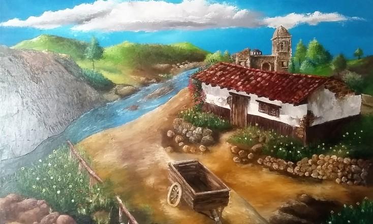 Oleo: Casa rivereña
