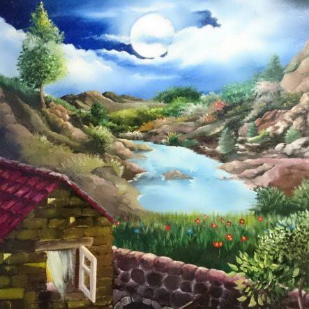 Oleo: Luna y lago